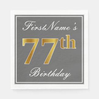 Elegant Gray, Faux Gold 77th Birthday; Custom Name Napkin
