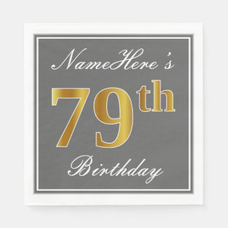 Elegant Gray, Faux Gold 79th Birthday; Custom Name Paper Napkin
