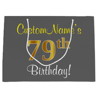 Elegant, Gray, Faux Gold 79th Birthday + Name Large Gift Bag