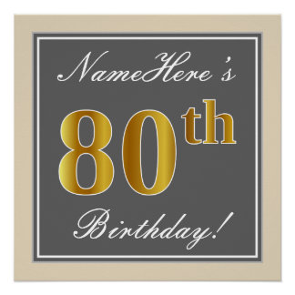 Elegant, Gray, Faux Gold 80th Birthday + Name Poster