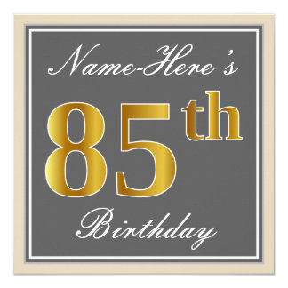 Elegant, Gray, Faux Gold 85th Birthday + Name Card
