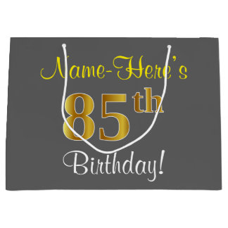 Elegant, Gray, Faux Gold 85th Birthday + Name Large Gift Bag