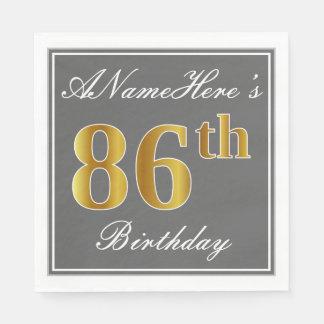 Elegant Gray, Faux Gold 86th Birthday; Custom Name Napkin