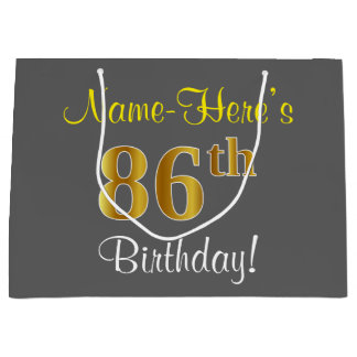 Elegant, Gray, Faux Gold 86th Birthday + Name Large Gift Bag