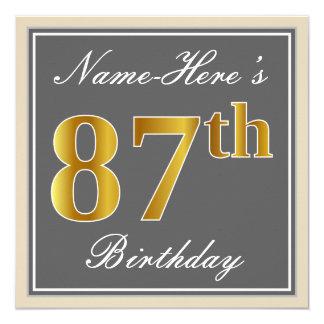 Elegant, Gray, Faux Gold 87th Birthday + Name Card