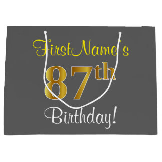 Elegant, Gray, Faux Gold 87th Birthday + Name Large Gift Bag