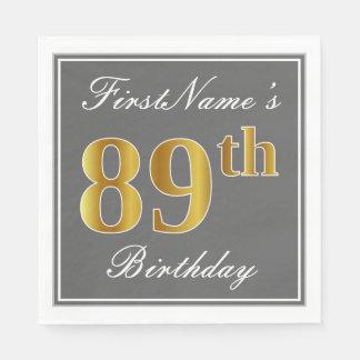 Elegant Gray, Faux Gold 89th Birthday; Custom Name Paper Napkin