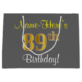 Elegant, Gray, Faux Gold 89th Birthday + Name Large Gift Bag