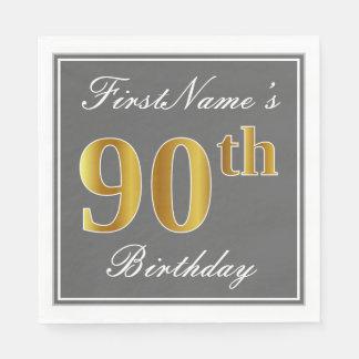 Elegant Gray, Faux Gold 90th Birthday; Custom Name Disposable Napkins