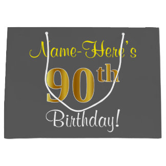 Elegant, Gray, Faux Gold 90th Birthday + Name Large Gift Bag