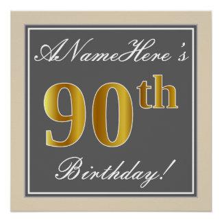 Elegant, Gray, Faux Gold 90th Birthday + Name Poster