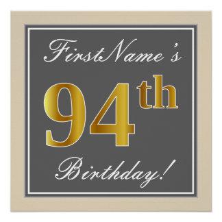 Elegant, Gray, Faux Gold 94th Birthday + Name Poster