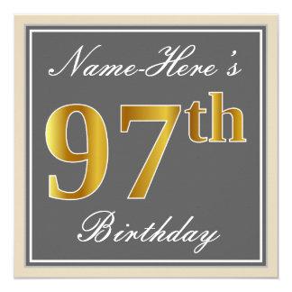 Elegant, Gray, Faux Gold 97th Birthday + Name Card