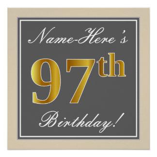 Elegant, Gray, Faux Gold 97th Birthday + Name Poster