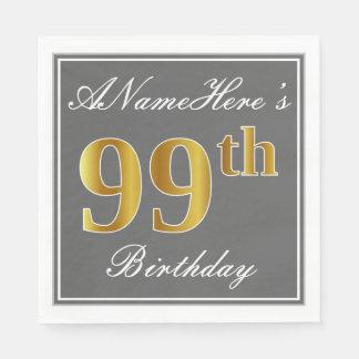 Elegant Gray, Faux Gold 99th Birthday; Custom Name Napkin
