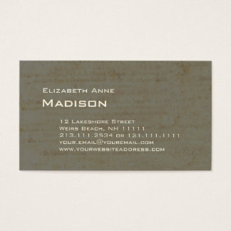Elegant Gray Green Antique Paper Patina Business Card