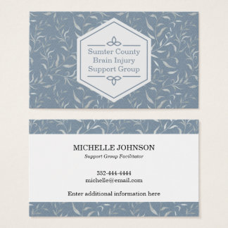 Elegant Gray Leaves on Vintage Blue Business Card