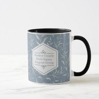 Elegant Gray Leaves on Vintage Blue Mug