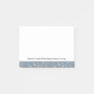 Elegant Gray Leaves on Vintage Blue Post-it Notes