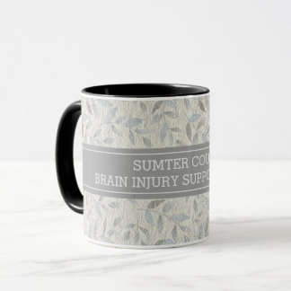 Elegant Gray Leaves Personalized Support Group Mug