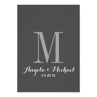 Elegant Gray Monogram Initial Wedding Invitation