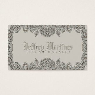 Elegant Gray Ornate Victorian Swirls Frame Business Card