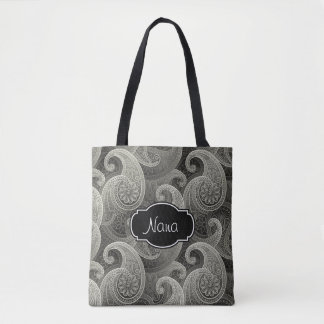 Elegant Gray Paisley Monogrammed Tote Bag