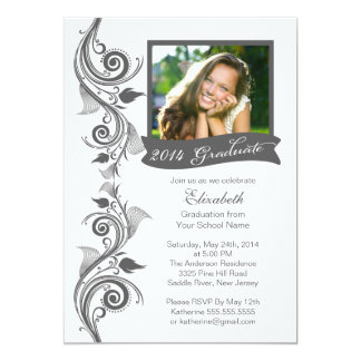 "Elegant Gray Photo Graduation Party Invitation 5"" X 7"" Invitation Card"