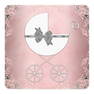 """Elegant Gray Pink Lace Baby Girl Shower 5.25"""" Square Invitation Card"""