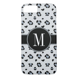 Elegant Gray Snow Leopard Cool Silver Monogram Case-Mate iPhone Case