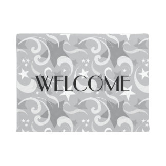 Elegant, Gray, Stars, White, Swirl, Magical, Grey Doormat