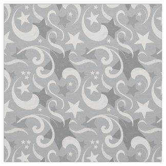 Elegant, Gray, Stars, White, Swirl, Magical, Grey Fabric