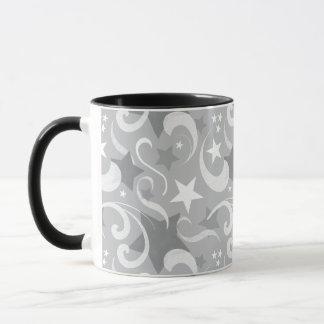 Elegant, Gray, Stars, White, Swirl, Magical, Grey Mug