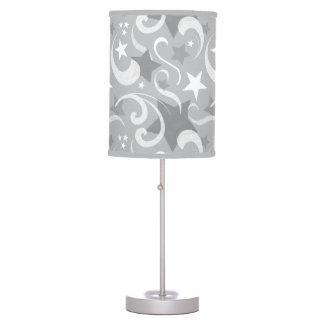 Elegant, Gray, Stars, White, Swirl, Magical, Grey Table Lamp