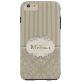 Elegant Gray Stripes and Damask Monogram Tough iPhone 6 Plus Case