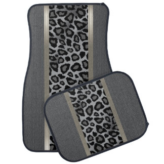 Elegant Gray Texture and Leopard Animal Design Car Mat