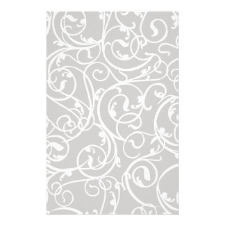 Elegant Gray Vintage Scroll Damask Pattern Stationery Paper
