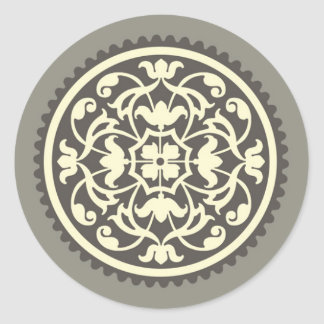 Elegant Gray & Yellow Christmas Card Seal Round Sticker