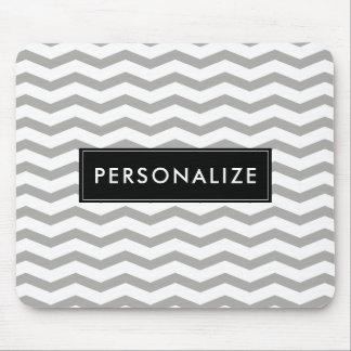 Elegant gray zigzag chevron stripe personalized mouse pad