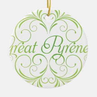 Elegant Great Pyrenees Ceramic Ornament