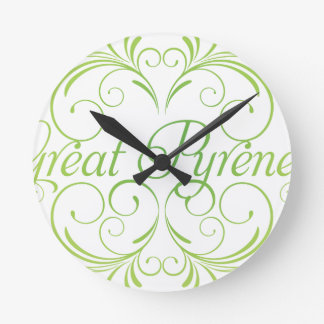 Elegant Great Pyrenees Round Clock