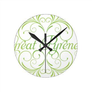 Elegant Great Pyrenees Round Clock