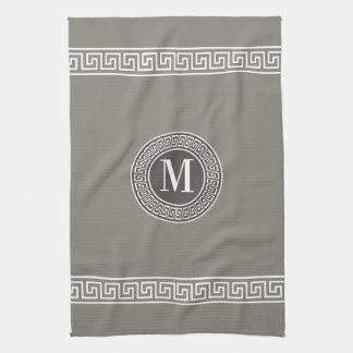 Elegant Greek Key Monogram Kitchen Towels