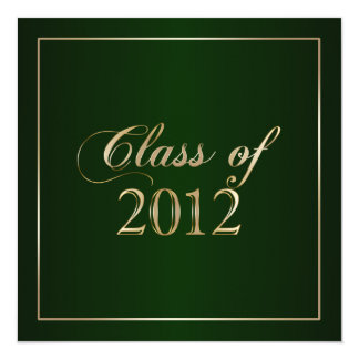 Elegant Green and Gold Class of 2012 Invitation