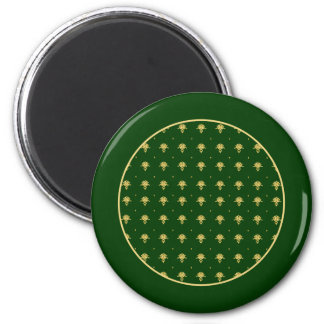 Elegant Green and Gold Damask 2 Inch Round Magnet