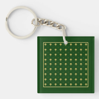 Elegant Green and Gold Damask Double-Sided Square Acrylic Keychain