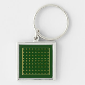 Elegant Green and Gold Damask Silver-Colored Square Keychain