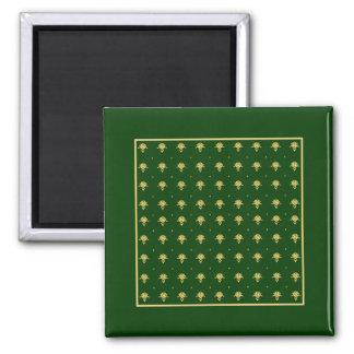 Elegant Green and Gold Damask Square Magnet