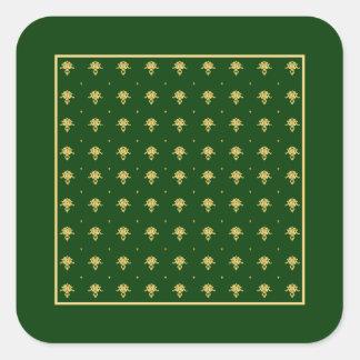 Elegant Green and Gold Damask Square Sticker