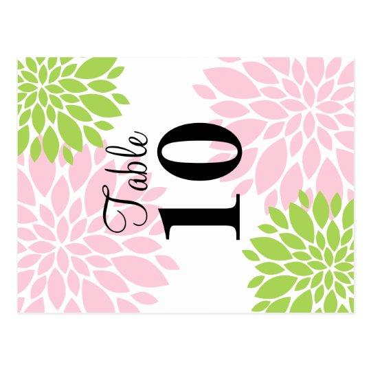 Elegant Green and Pink Floral Burst Table Number Postcard